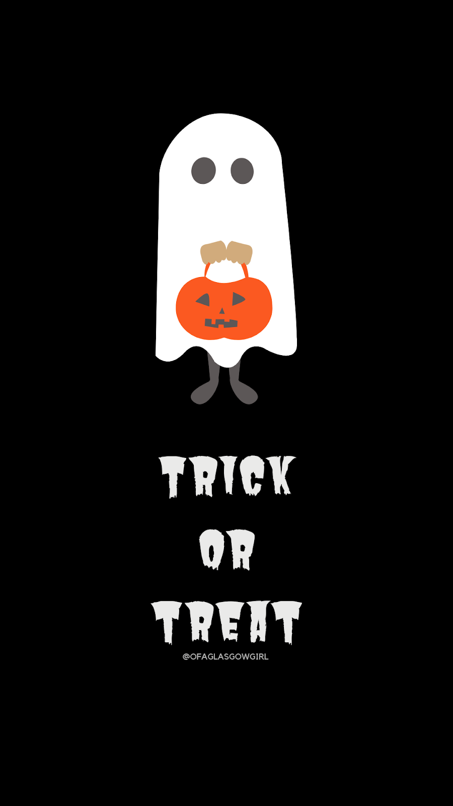 Free halloween inspired graphic on Thelifeofaglasgowgirl.co.uk - Someone in a ghost costume (cartoon drawing) with Trick or treat in writing underneath it by @ofaglasgowgirl