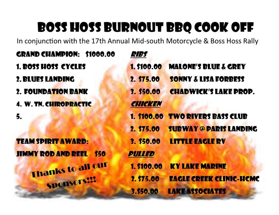 Paris Landing Tourism League: Boss Hoss Burnout BBQ Cook Off