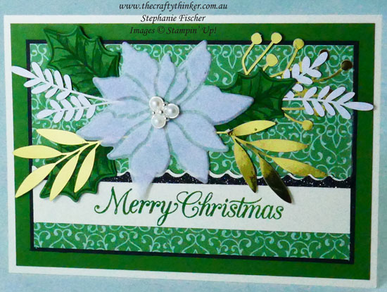 #thecraftythinker #stampinup #cardmaking #christmascard #xmascard #poinsettiaplace #poinsettiapetals , Christmas card, Poinsettia Place, Stampin' Up Demonstrator Stephanie Fischer, Sydney NSW