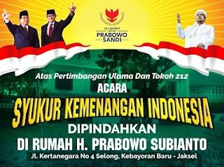 Acara Syukur Kemenangan Indonesia Di Rumah Prabowo Subianto