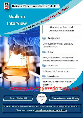 Unison Pharmaceuticals - Walk-in interview for Analytical Development on 27th July, 2019
