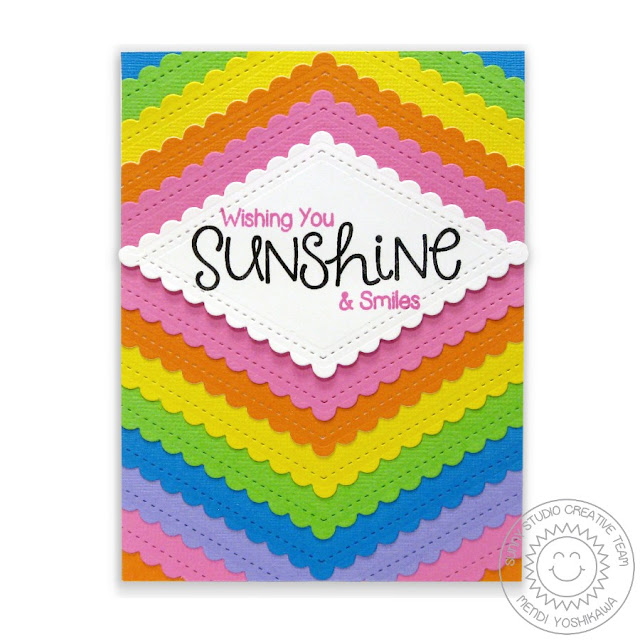 Sunny Studio Stamps: Fishtail Banners II Rainbow Scalloped Card by Mendi Yoshikawa