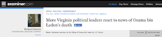 politicians death of Osama Bin Laden UBL Virginia