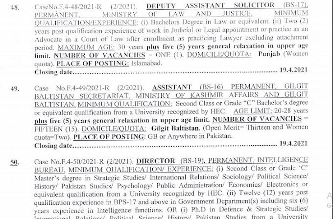 FPSC Jobs, Vacancies Of Assistant (BPS-16) For Gilgit Baltistan