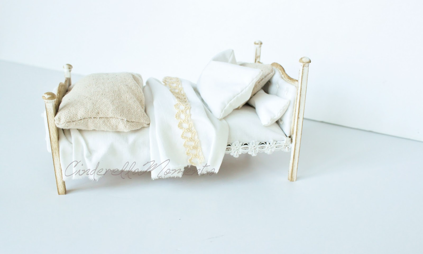Cinderella Moments Dollhouse Upholstered Bed Tutorial