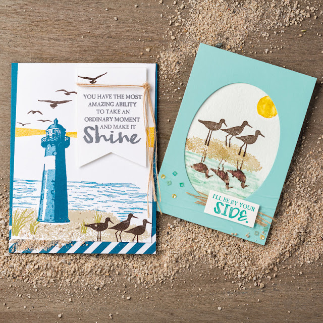 This image shows two projects made with the High Tide Stamp Set by Stampin' Up! which is a nautical Lighthouse set.