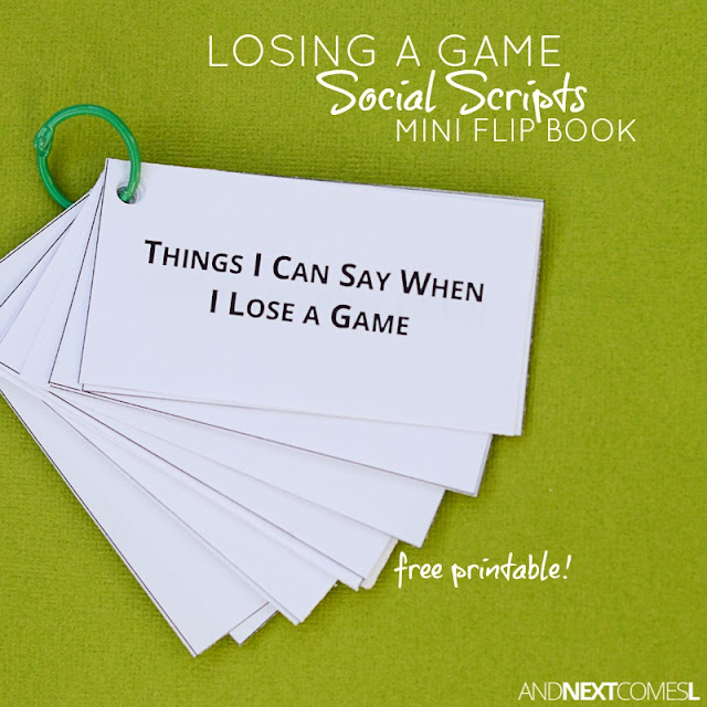 Free printable social scripts about losing a game for kids with autism or hyperlexia from And Next Comes L