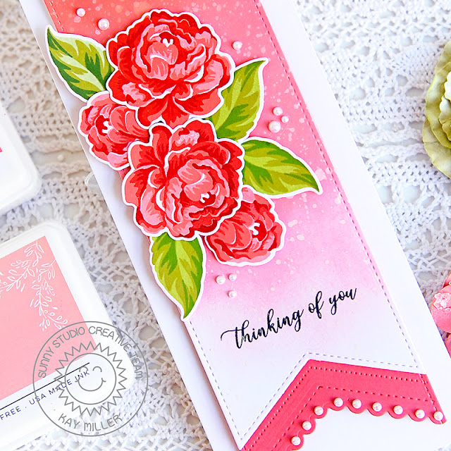 Sunny Studio Stamps: Slimline Dies Captivating Camellias Everyday Card by Kay Miller