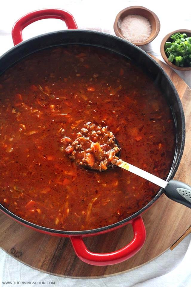 Easy Stovetop Cabbage Roll Soup (Paleo with Low-Carb Option)