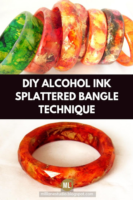 Make over an old bangle with this DIY alcohol ink painting technique