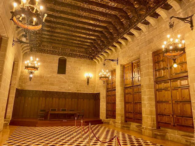 Meeting room with gilded ceiling in La Lonja de la Seda, Valencia, Spain