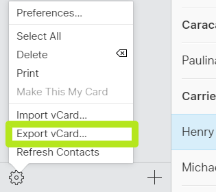 Select Export vCard