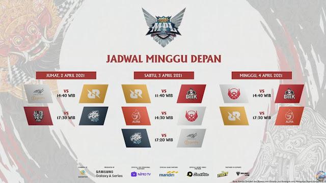 jadwal MPL ID Season 7 2 April 2021