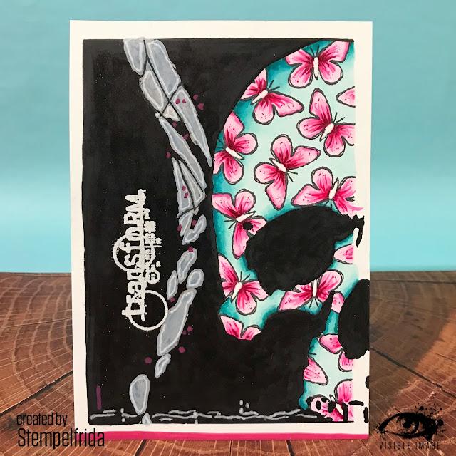 skull stencil - card