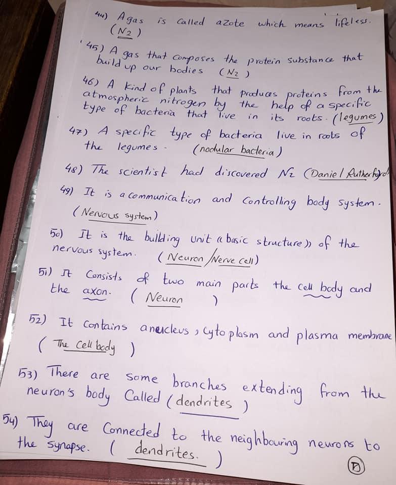 شيت خاص بسؤال write the scientific term علي المنهج كامل grade6_science 5