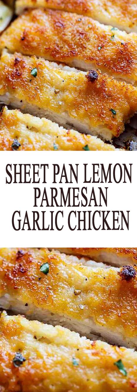 sheet pan lemon parmesan garlic chicken