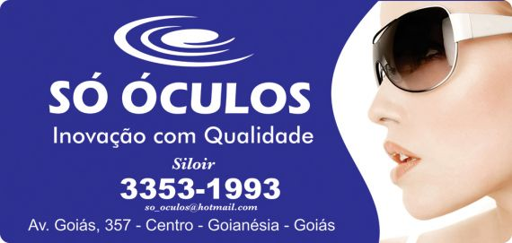 bf0c39e701ed7 Ótica Só Óculos. Endereço  Avenida Goiás, 357 - Centro - Goianésia GO
