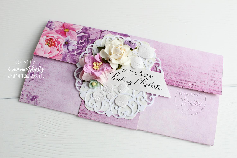 scrapbooking cardmaking kartka kartki kopertówka kopertówi ślub ślubna dla pary dla nowożeńców prezent ślubny prezent z k(l)asą wedding card handmade rękodzieło kwiaty kwiatowa papierowe skarby