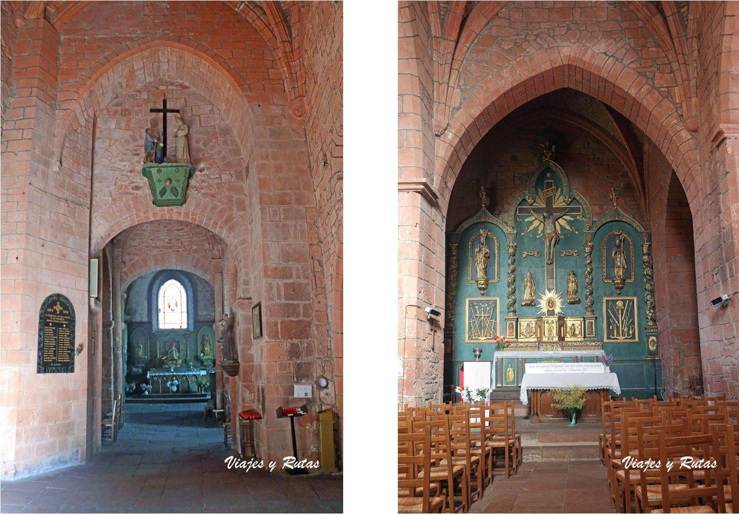 Interior de la Iglesia de San Pedro, Collonges la Rouge, Francia