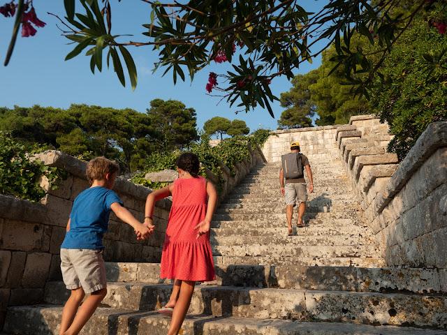 Niños y hombre de espaldas subiendo por una gran escalera rodeada de vegetación