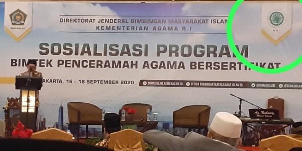 Majelis Ulama Indonesia (MUI) Pusat memprotes Kementerian Agama (Kemenag) RI yang mencatumkan logo MUI saat sosialisasi program Bimtek Penceramah Bersertifikat yang di selenggarakan Kemenag
