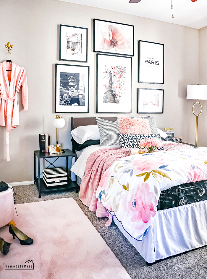 Pink, black, white and gold Paris room makeover