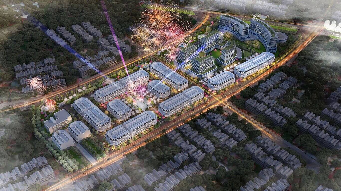 Phối cảnh dự án đô thị Calyx Residence về đêm.