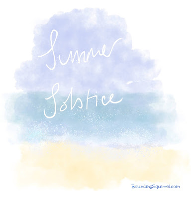 Summer solstice image showing blue sky and see in watercolour and the words Summer Solstice in white ink