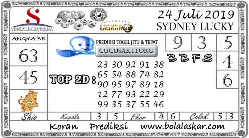 Prediksi Togel Sydney Lucky Today LASKAR4D 24 JULI 2019