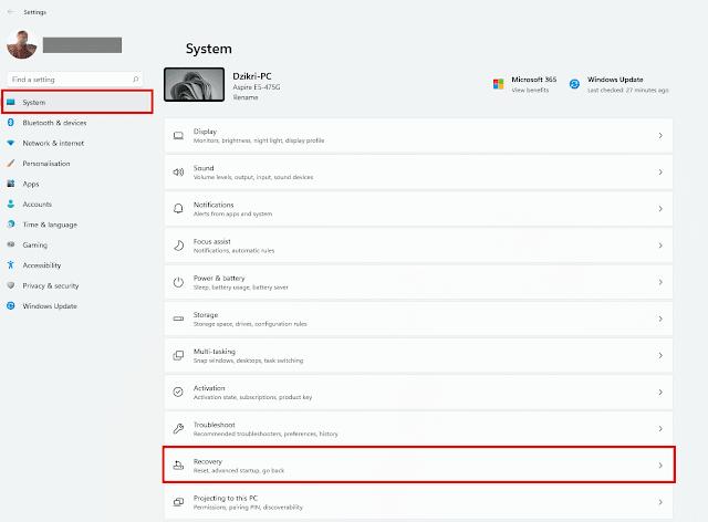 buka menu recovery windows 11