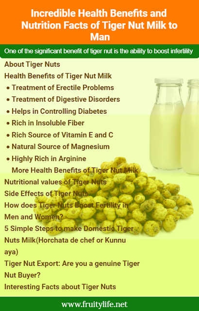 About Tigernuts  Health Benefits of Tigernut Milk  Treatment of Erectile Problems Treatment of Digestive Disorders Helps in Controlling Diabetes Rich in Insoluble Fiber Rich Source of Vitamin E and C Natural Source of Magnesium Highly Rich in Arginine More Health benefits of Tigernut Milk  Nutritional values of Tigernuts  Side effects of Tigernuts  How does Tigernuts boosts Infertility in Men and Women?  5 Simple Steps to make Domestic Tigernut Milk (Horchata de chef or Kunnu aya)  Fruitylife.net Multipurpose Tigernut Flour: Are you on a Low-carb or Keto diet?  Instant Tigernut Milk Low-carb & Keto (Swallow/Fufu & Bread, Cake, Pancake) 100% Gluten and Grain free Natural Sweetener How to make Low-carb & Keto Tigernut flour Swallow/Fufu - Video   Are you a Genuine Tigernut flour Buyer?  16 Interesting facts about Tigernuts