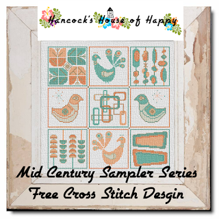 Mid-Century Modern Cross Stitch Sampler