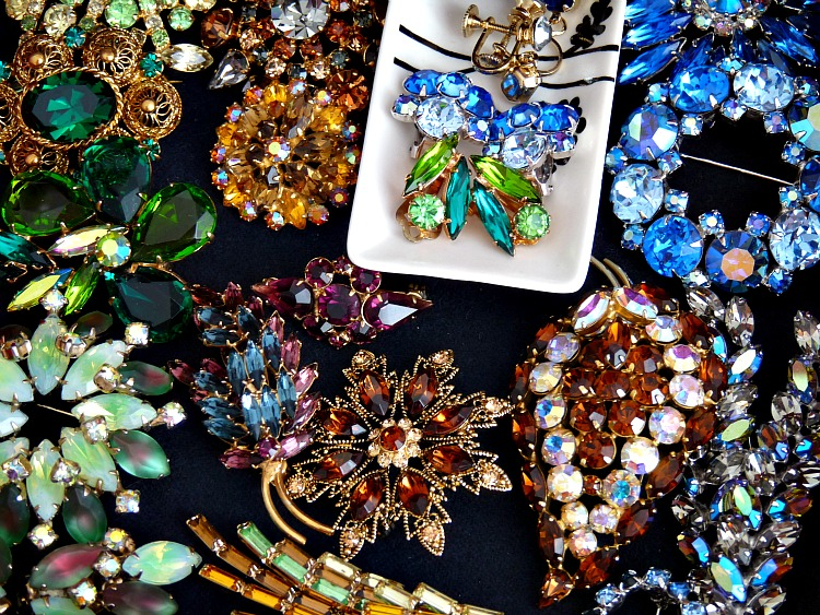 Vintage rhinestone brooch collection