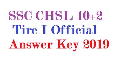 SSC CHSL 10+2 Tire I Official Answer Key 2019