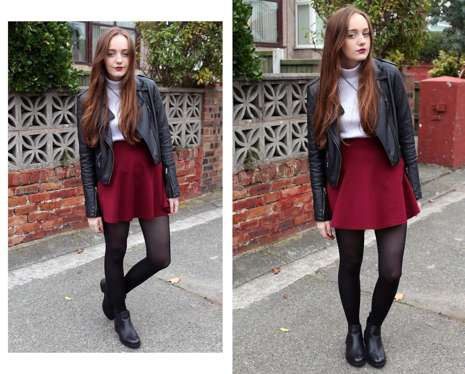 OOTD featuring burgundy skater skirt and black chelsea boots from get the label