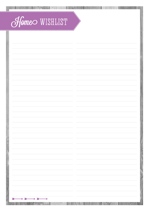 Free Printable Home Organizing Lists - Home Wishlist