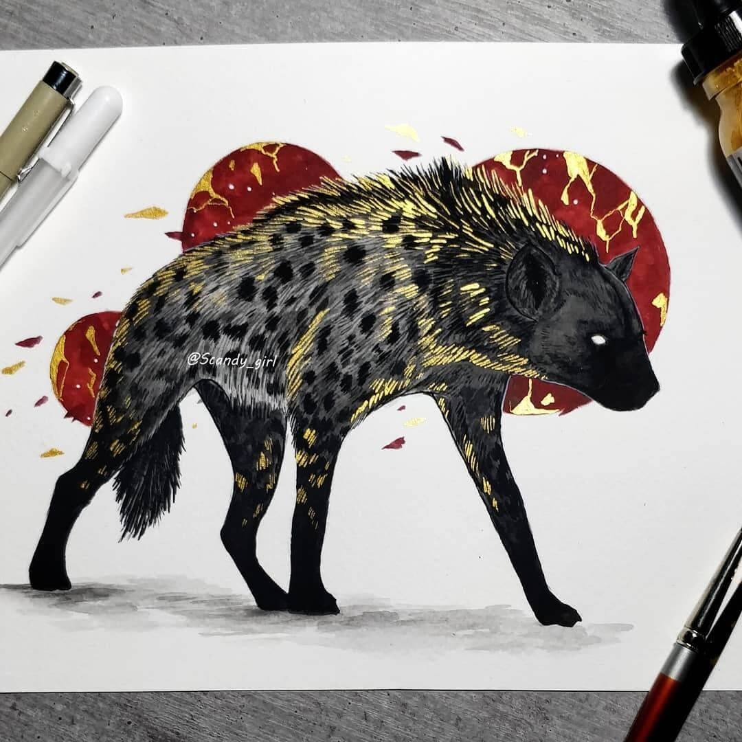 13-Hyena-Jonna-Hyttinen-Animals-Mixture-of-Drawings-and-Paintings-www-designstack-co