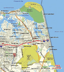 virginia map beach maps va coast printable east hampton usa area vacation atlantic center boardwalk roads norfolk town cool ocean