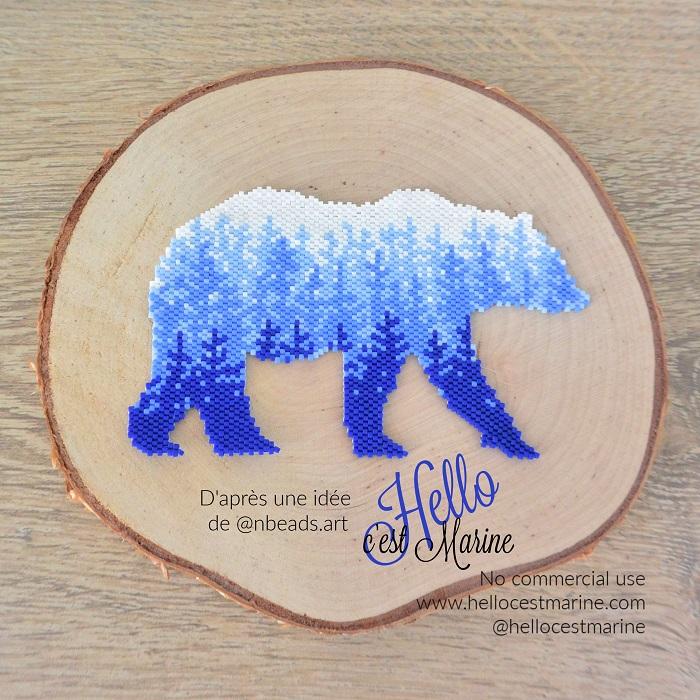 Ours polaire avec paysage tissé en perles Miyuki delica créé par Hello c'est Marine