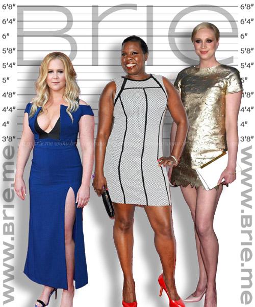 Amy Schumer, Leslie Jones, and Gwendoline Christie height comparison