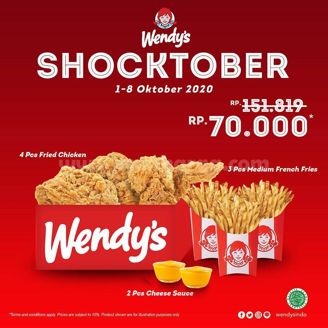 Promo Wendys Shoctober 4 pcs Fried Chicken Hanya Rp 70.000*