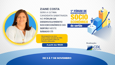 Ziane Costa será a última candidata sabatinada no Fórum de Desenvolvimento Socioeconômico do Sertão em Delmiro Gouveia