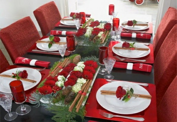 mesa navidad blanco rojo