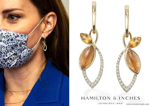 Kate Middleton wore a new Hamilton & Inches Flora Drop Earrings In 18ct Yellow Gold