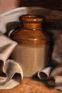 Oil painting of an earthenware jar surrounded by a white tea towel.