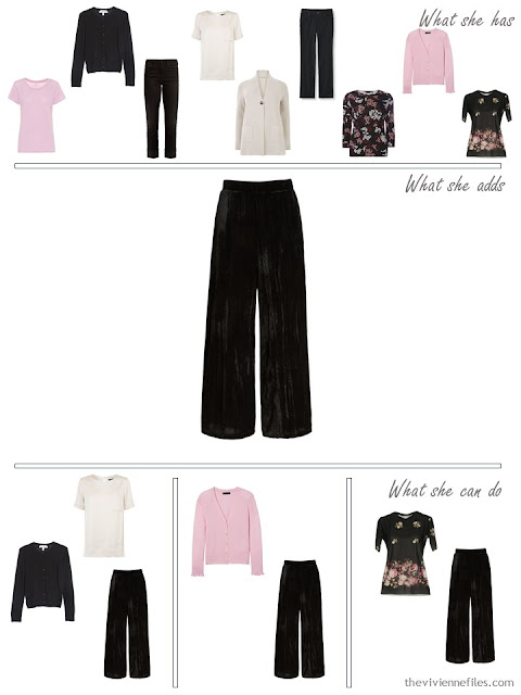 adding velvet pants to a capsule wardrobe
