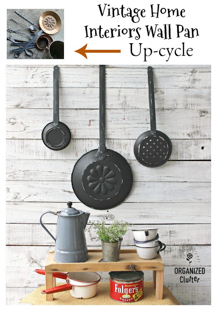 Vintage Home Interiors Copper Pans Up-cycle #Thriftshopmakeover  #upcycle #dixiebellepaint #caviar #kitchendecor