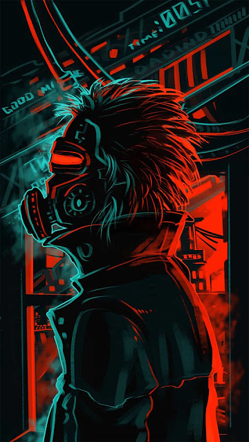 15 Cyborg Neon Mask Ultra HD wallpapers 4K for iPhone and Android
