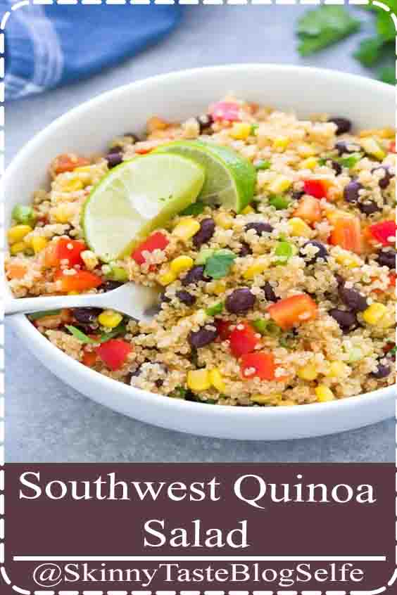 4.7 | ★★★★★  Southwest quinoa salad with black beans and zesty lime dressing. This healthy cold quinoa salad is perfect for meal prep! One of my favorite quick and easy lunch recipes. #quinoasalad #mealprep #Southwest #Quinoa #Salad