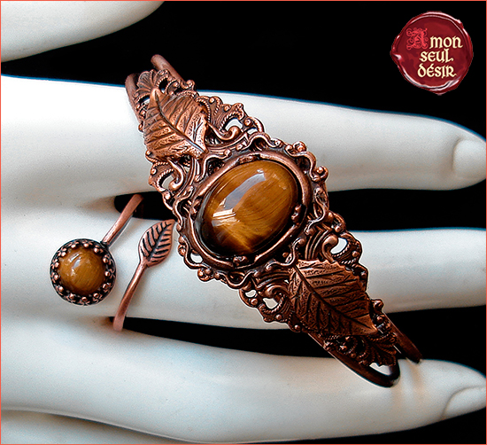 Oeil de Tigre Cuivre Marron Bijoux Parure Tiger's Copper Jewellery set Elven Bracelet Woodland